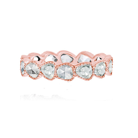 Vivaan 18 Karat Rose Gold and Rose Cut Diamond Eternity Ring