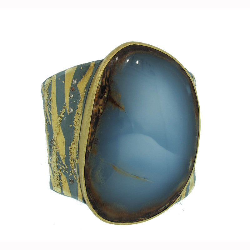 Atelier Zobel Chalcedony, Diamond, Sterling Silver and 22K Gold Cuff Bracelet