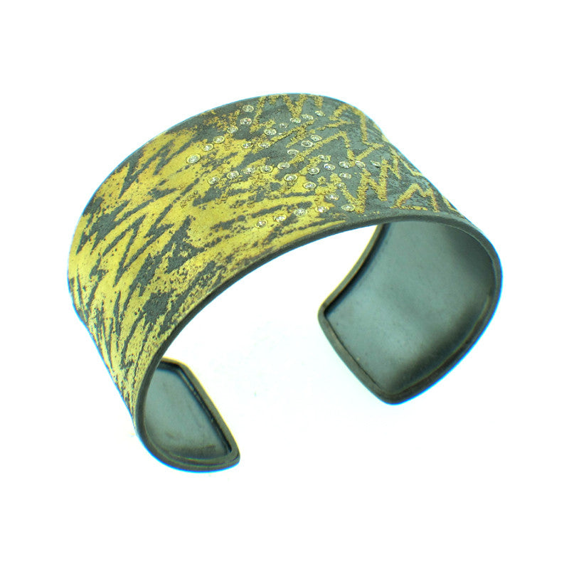 Atelier Zobel 24K and 22K Gold, Sterling Silver and Fancy Diamond Cuff Bracelet