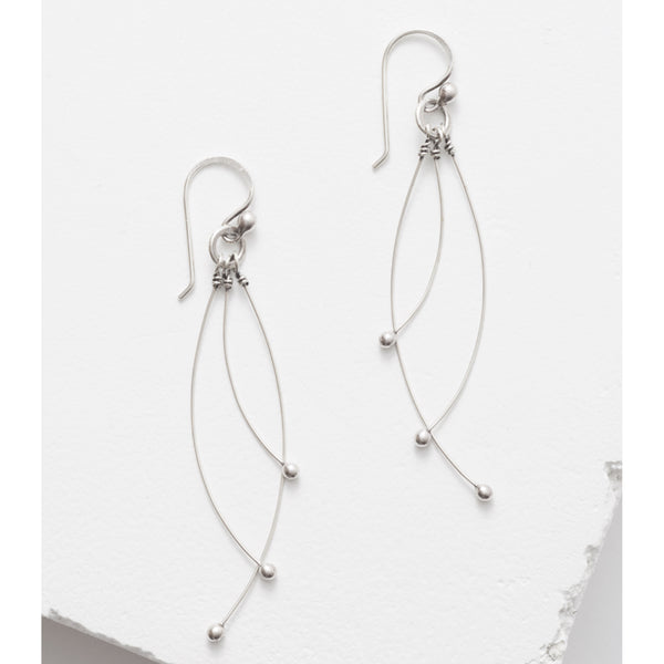 Zuzko Tickle sterling silver earrings with three long dangling silver strands ending with round silver beads