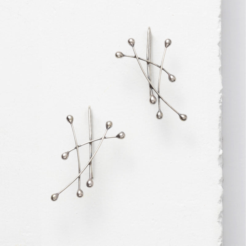 Zuzko small silver Sail earrings with fused lines and dots