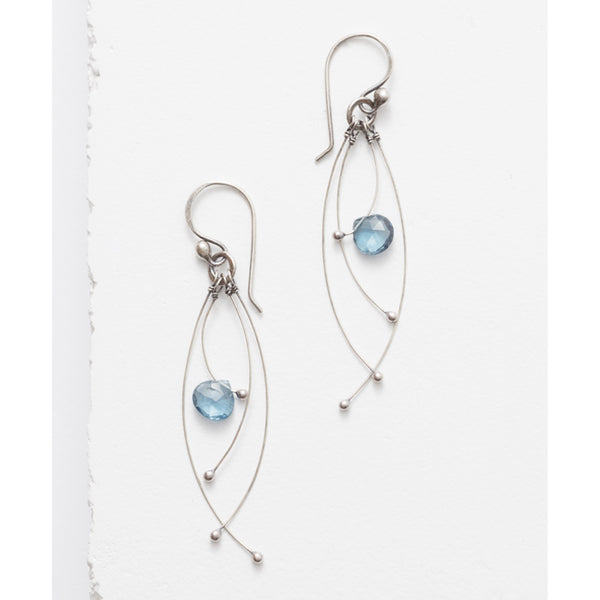 Zuzko Tickle earrings with large topaz gem and long dangling silver strands