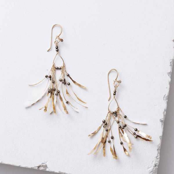 Zuzko gold boa earrings with pyrite beads