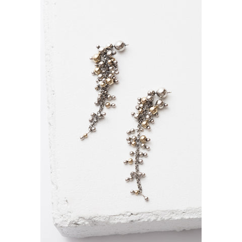 Zuzko Jewelry Sterling Silver and Gold Filled Cluster Earrings - Short