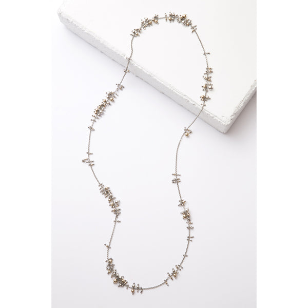 Zuzko extra long cluster necklace on silver chain with tiny gold and silver beads