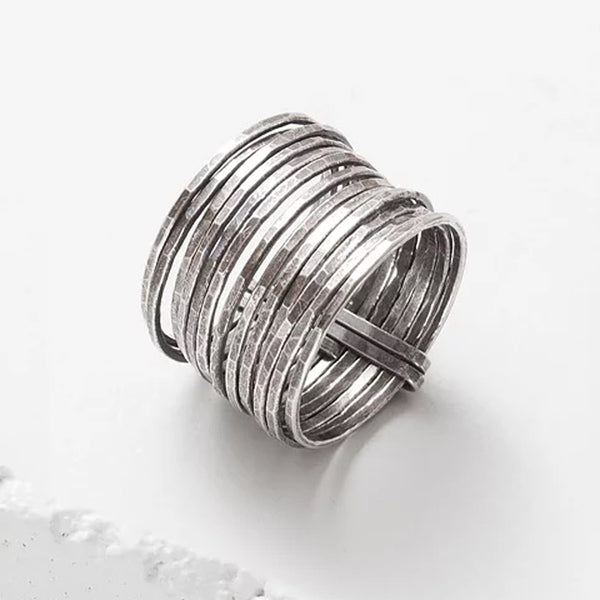 Zuzko hand forged silver stacked ring with 13 stacked rings