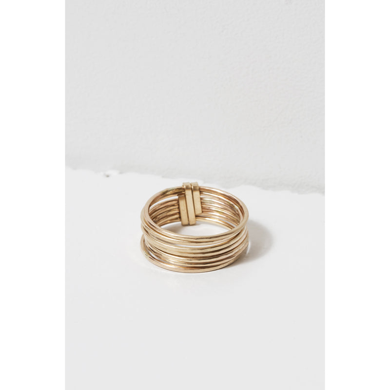 "14K gold filled ""Stacked"" ring with seven articulating hand-forged rings"