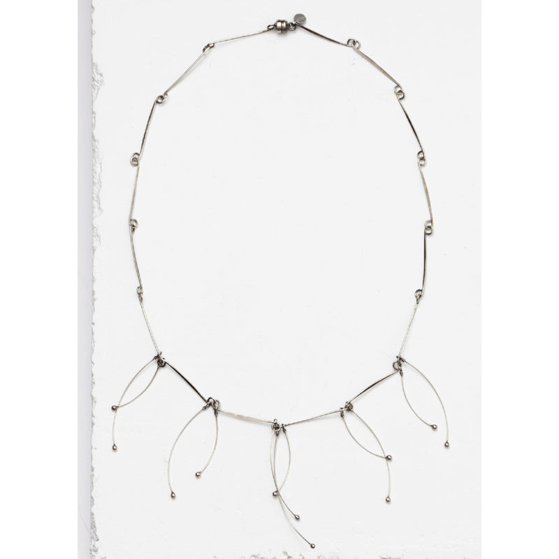 Zuzko silver Tickle necklace with short, rigid silver strands looped together