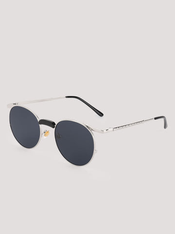 Black Lens Sunglasses With Silver Frames