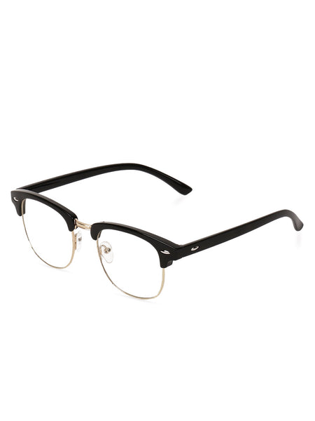 Half Frame Black Clear Glasses