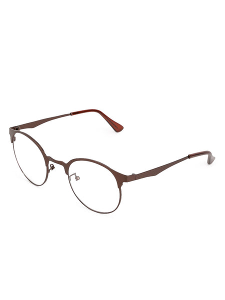 Half Frame Bronze Clear Glasses