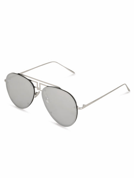 Oversized Round Silver Sunglasses