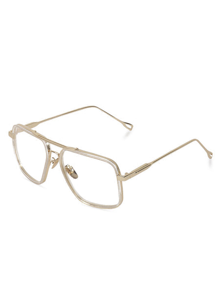 Square Gold Double Bridge Clear Glasses