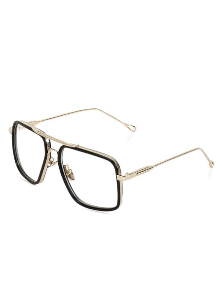 Square Black Double Bridge Clear Glasses