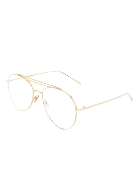 Double Bridge Gold Glasses with Metallic Frames