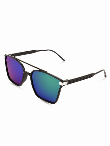 Square Green Double Bridge Sunglasses