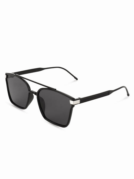 Square Black Double Bridge Sunglasses