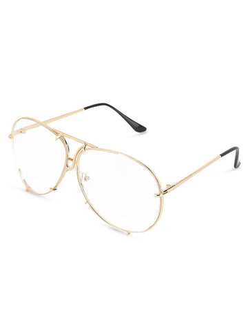 Oversized Round Gold Clear Glasses
