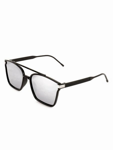 Square Silver Double Bridge Sunglasses