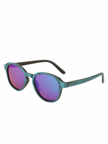Round Sunglasses With Textured Frame And Arms