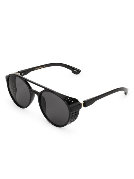 Round Double Bridge Sunglasses with Side Shield
