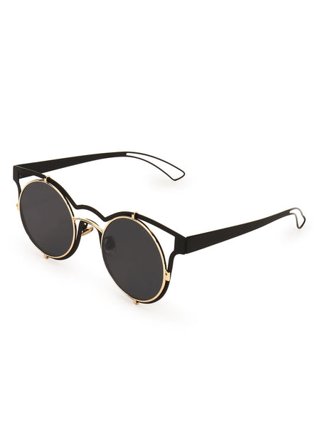Round Sunglasses With Metallic Frame