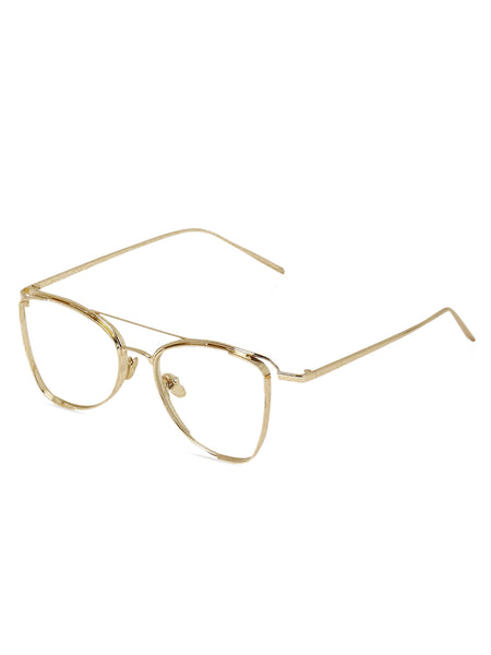Double Bridge Gold Metal Clear Sunglasses