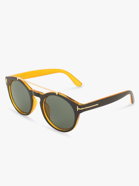 Double Bridge Sunglasses With Brown Frames