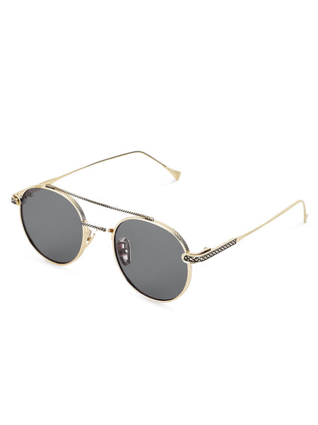 Double Bridge Black Metal Sunglasses