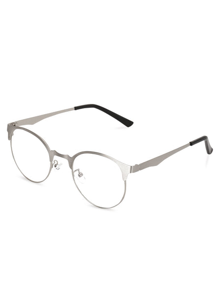 Half Frame Silver Clear Glasses