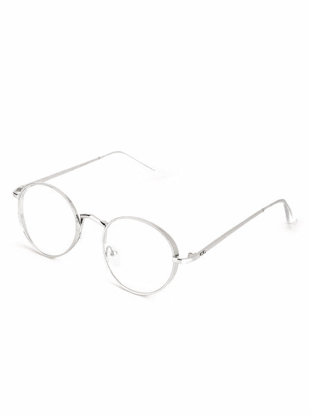 Round Silver Metal Clear Frames