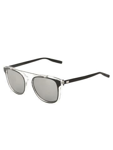 Double Bridge Clear Silver Sunglasses