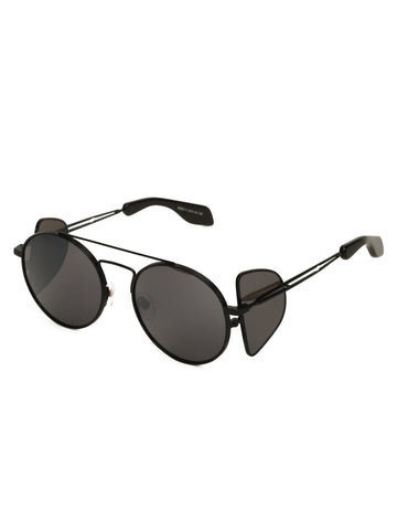 Black Round Sunglasses with Side Shield