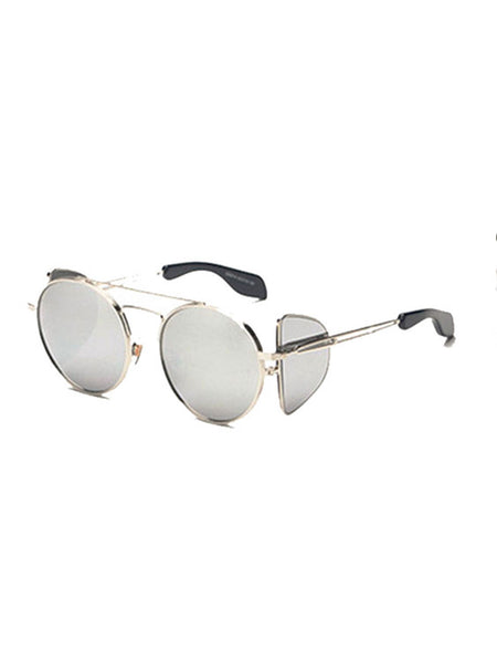 Silver Round Sunglasses with Side Shield