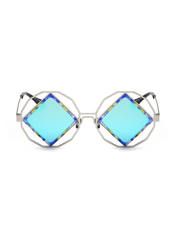 Blue Square Lens with Round Frame