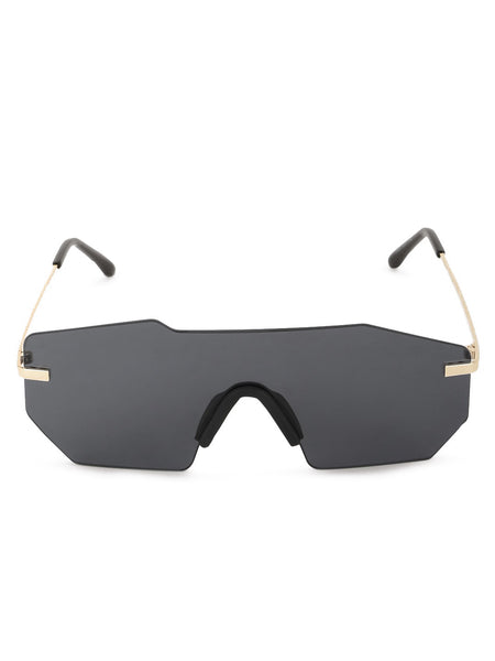 Frameless Sunglasses with Metallic Arms