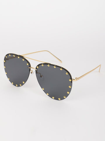 Studded Pilot Sunglasses