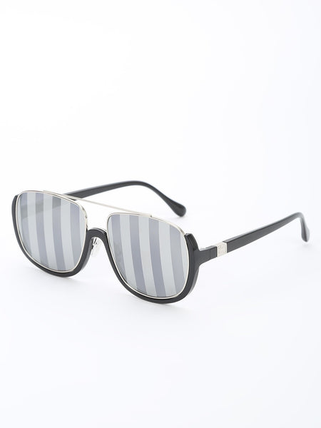 Striped Lenses Broad Frames Sunglasses