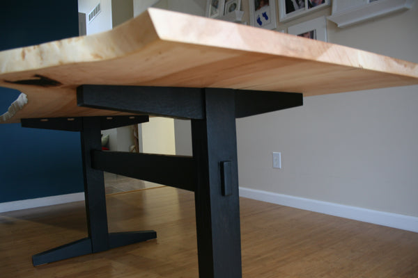 Live Edge Maple Table with Ebonized White Oak Trestle Base