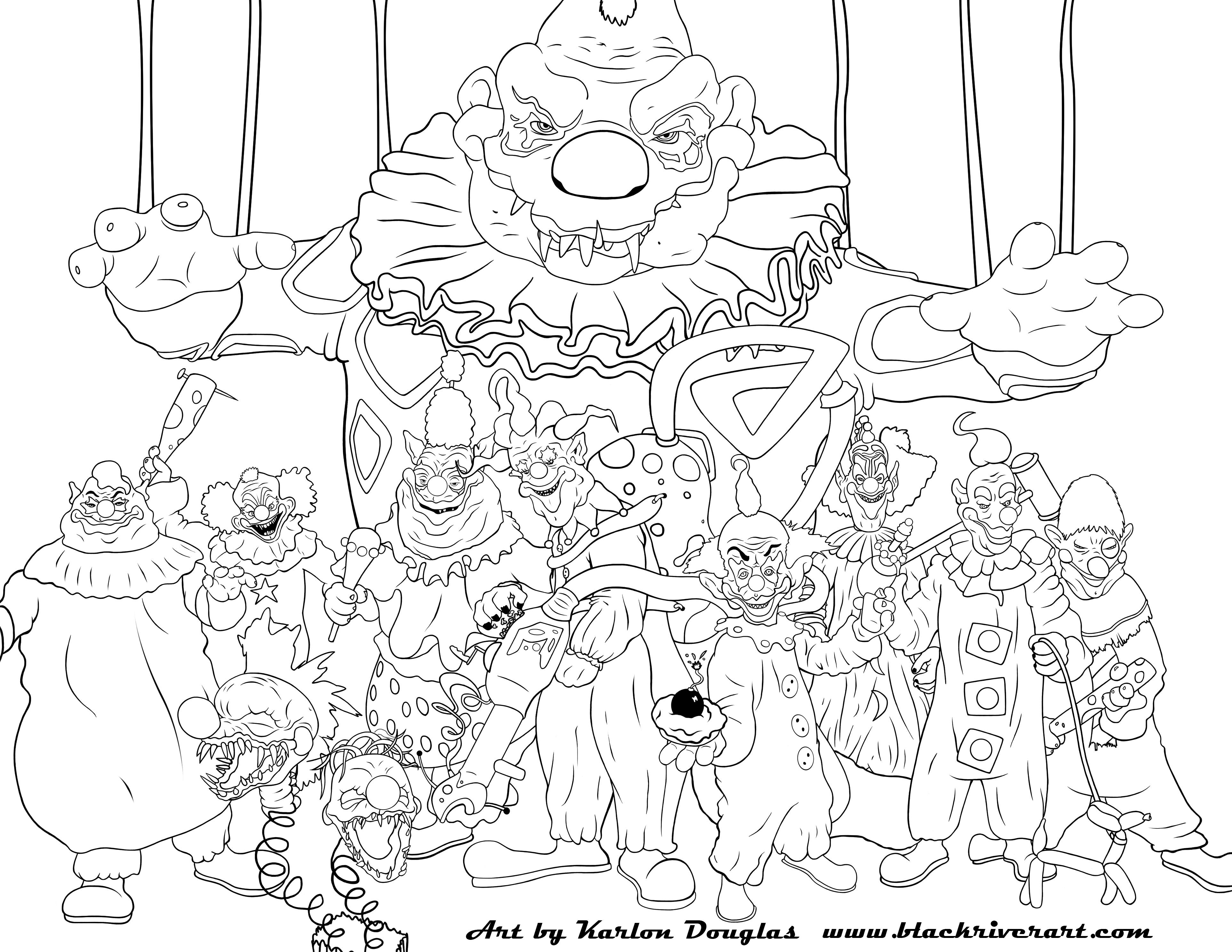 killer klowns from outer space - Free Printable Coloring Pages For Adults Advanced