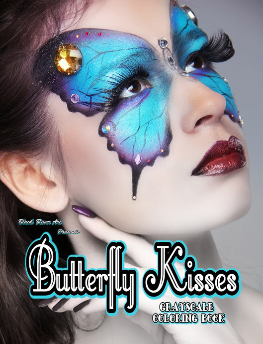 Butterfly Kisses Grayscale Coloring Book