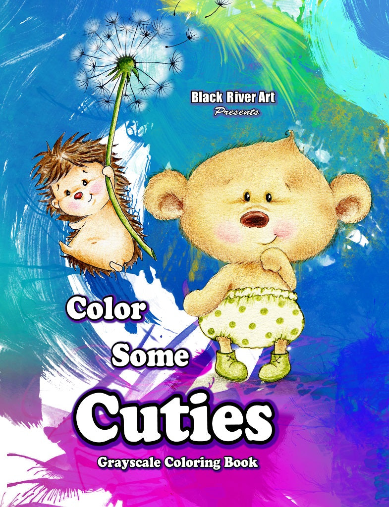 Color Some Cuties Grayscale Coloring Book