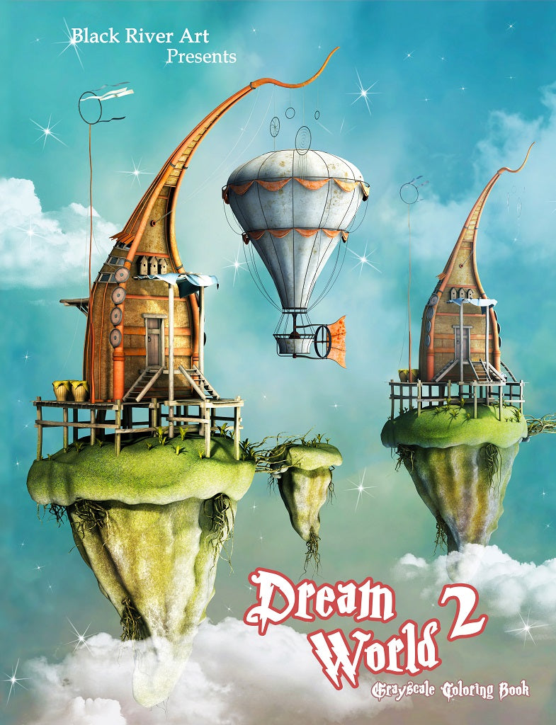 Dream World 2 Grayscale Coloring Book