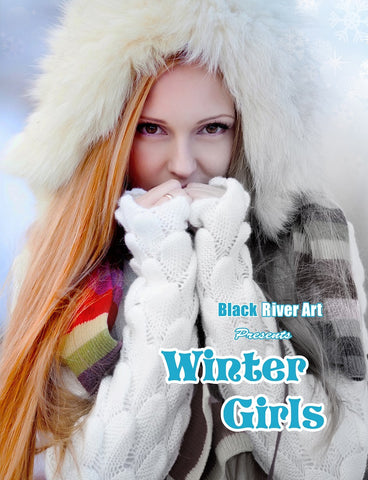 Winter Girls Grayscale Coloring Book - Black River Art