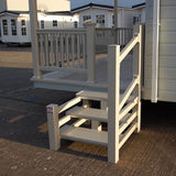 Super Rail 2 or 3 Tread Steps 895mm opening with single handrail for Static caravan Deck or door