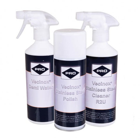 3 Part Stainless Steel Tea Staining Kit Cleaner Demi Water And Protection Spray