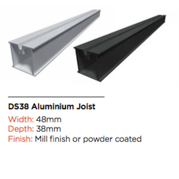DS38/DS22 Aluminium Joist 3600mm
