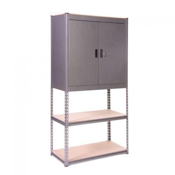 Silver Vein Heavy Duty Half Cupboard/Half Shelves Storage Unit