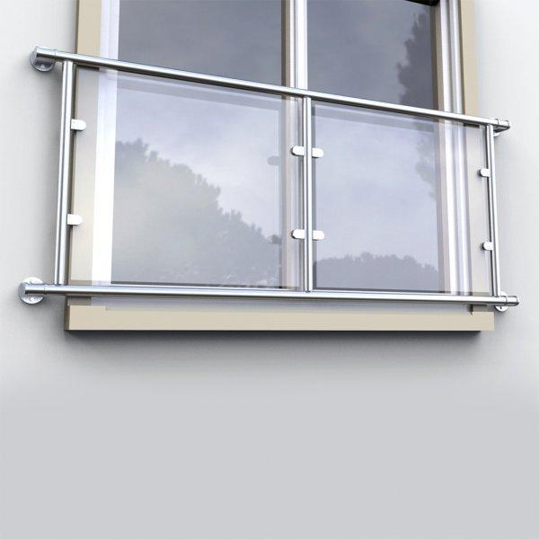 Juliette Balcony Double Door Kit For 48.3mm x Stainless 316 with 10mm Toughened Glass