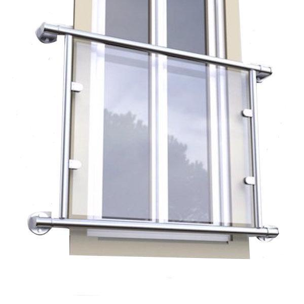 Juliette Balcony Single Door Kit For 48.3mm x Stainless 316 with 10mm Toughened Glass